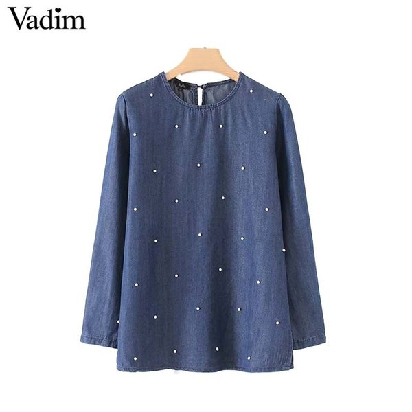 Vadim women elegant pearls beading tencel denim shirt long sleeve O neck blouse ladies autumn brand casual tops blusas LT2386