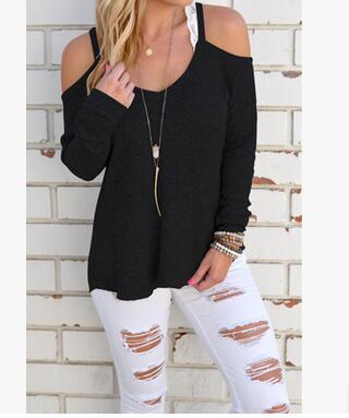 New Sexy Casual Cotton Blend V Neck Vest Tops Autumn Winter Women T-Shirt Long Sleeve Strapless T-Shirt Hollow Out Tops