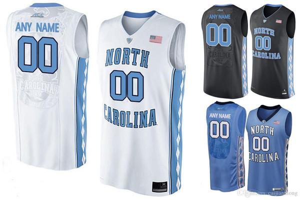 Tacones de Carolina del Norte para hombre 2016 personalizados College Basketball Jersey - Azul Blanco Negro