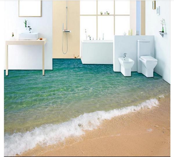 All'ingrosso-Personalizzato Foto Pavimento Carta da parati 3D mare oceano spiaggia pavimento Bagno soggiorno 3D Pavimento autoadesivo Adesivo per pavimenti Pittura