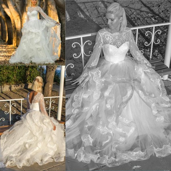Illusion Full Lace Long Sleeve Bohemian A line Wedding Dresses Tiered Ruffles Vestidos Corset Back Beach Wedding Bridal Gowns Custom Made