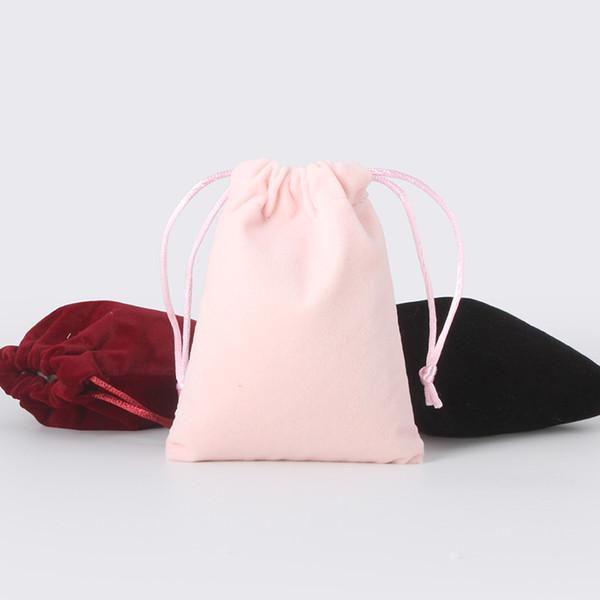 50 unids / lote 10 * 14 cm 6 colores de color bolsa de terciopelo cosmética Logo impreso saco de lazo bolsas de regalo de la joyería bolsas de embalaje