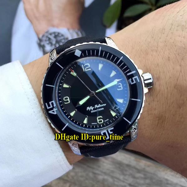 Fifty Fathoms 5015-1130-52 quadrante nero Giappone Miyota 8215 Mens automatico orologio intagliato cinturino in pelle cinturino in ceramica 50 fathoms nuovi orologi