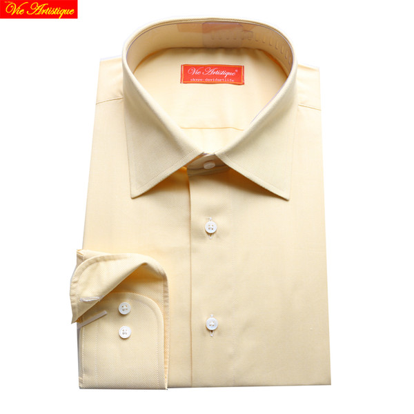 men shirt cotton dress business shirts long sleeve casual slim fit 2018 high quality plus size 567 XL tailored beige oxford