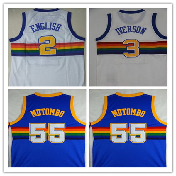 pretty nice 1d660 52751 2018 High Quality Mens #55 Dikembe Mutombo #3 Allen Iverson Jersey 2# Alex  English Classics Rainbow Style 15# Carmelo Anthony Embroidery Jerseys From  ...