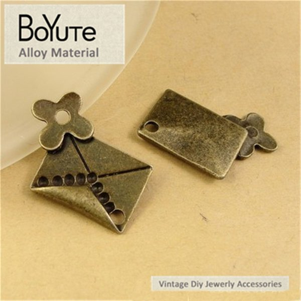 BoYuTe (60 Pieces/Lot) 26*21MM Zinc Alloy Envelope Charms Antique Bronze Plated Diy Charms for Jewelry Making Hand Made Necklace Bracelets