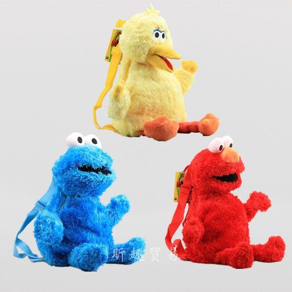Nuovo arrivo 100% cotone 3pcs / Lot Sesame Street 45cm zaini peluche giocattolo per bambini migliori regali