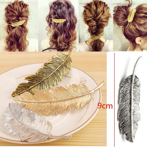 Fashion Metal Leaf Shape Hair Clip Barrettes Crystal Pearl Hairpin Barrette Color Feather Hair Claws Hair Styling Tool
