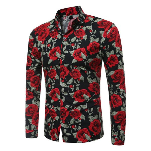 Vintage Flower Print Men Shirt Chinese Style Festive Male Blouse Party Casual Blouses Handsome Man Cotton Tops 2018 Hot Sale