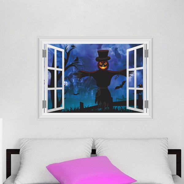 Halloween Dekorative Wand Aufkleber 3D Diy Kunst Wandbilder Wasserdicht  Selbstklebende PVC Tapeten Können Abnehmbare Wohnzimmer Schlafzimmer Dekor