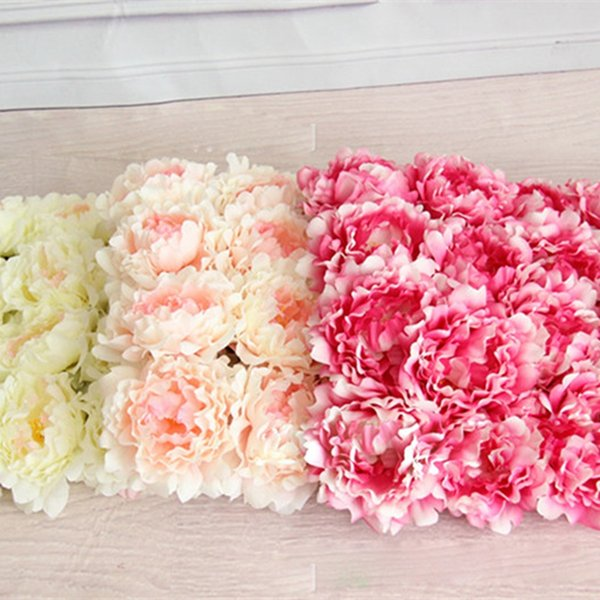 12 layer petals Large Artificial Peony Artificial Flowers Head Silk Decorative Fake Flowers For Hotel Wedding Garden Home Decor