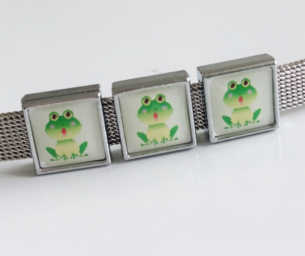 10pcs 8MM Plastic Frog Printing Square Slide Charms Beads DIY Accessories Fit 8mm Collar Belts Bracelets