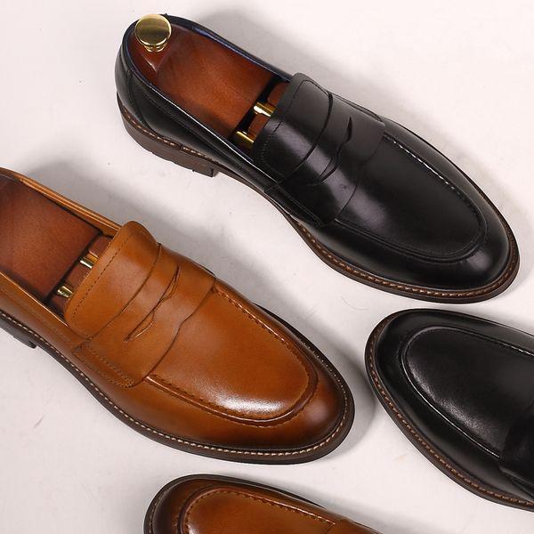 détaillant abcd2 662e5 Acheter Slip On Chaussures Pour Hommes Bout Pointu Mocassin Homme Robe En  Cuir Véritable Vintage Oxford Oxford Smart Casual Flats Mocassins Solide De  ...