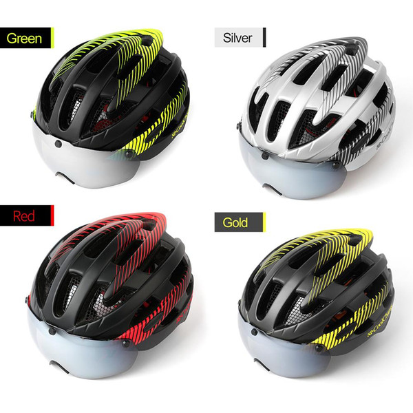 Men And Women Cycling Helmet Mountain Bike Magnetic Suction Goggles Helmet Road Bike Safety Bicycle Equipment