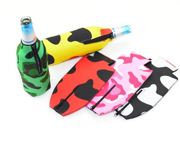 Camouflage Beer Bottle Cooler Sleeves Neoprene Protection Insulation Sleeve Holder Soft Drinks Covers with Zipper Customize SN608