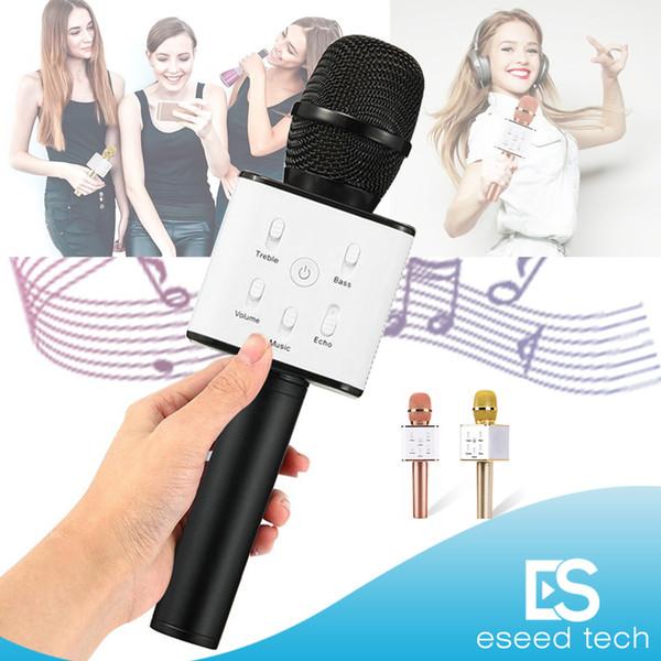 Q7 Ручной Микрофон Bluetooth для Беспроводной Magic KTV С Динамиком Микрофон Портативный Громкоговоритель Портативный Караоке-Плеер Для Смартфонов