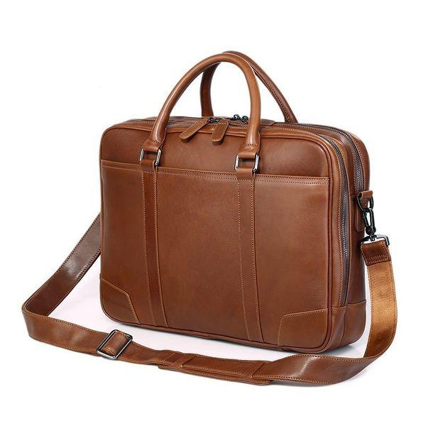 Genuine Leather Man Handbag For Business Trip Fit 15 Inch Laptop Bag Cowhide Men Briefcase Double-deck Zipper Package PR077348