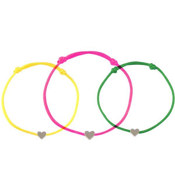 Braccialetti di corda di cera fatti a mano a mano Braccialetti Braccialetti di amicizia braccialetto di fascino del cuore di colore d'argento Braccialetto regolabile di DIY
