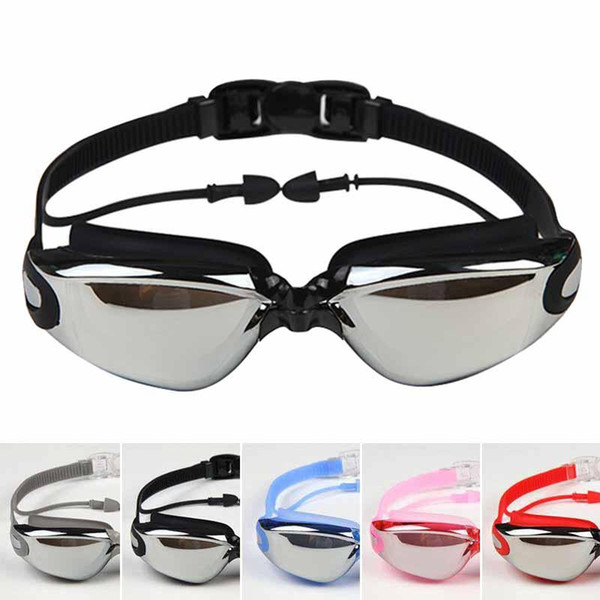 top popular Men Women Anti Fog UV Eyewear Protection Surfing Swimming Goggles Soft Earplugs Waterproof Swim Glasses with Earplug 2021
