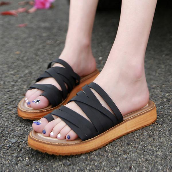 Été 2018 nouvelles sandales plates femme à bout blanc à bout blanc chaussures chaussures romaines bas bas flip-flops