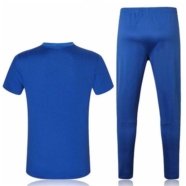 Survetements de foot Maglie calcio As Chelseao Blue short sleeve polo Soccer jersey long pants Football POLO Set