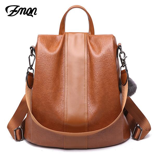 ZMQN Backpack Bag For Women 2018 School Bag Ladies Anti Theft Backpack For Teenage Girl Vintage Leather Rucksack Bagpack Bookbag
