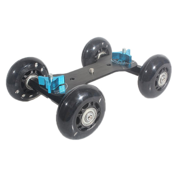 Tischplatte Dolly Mini Auto Skater Track Slider Super Mute für DSLR Kamera Camcorder (schwarz)