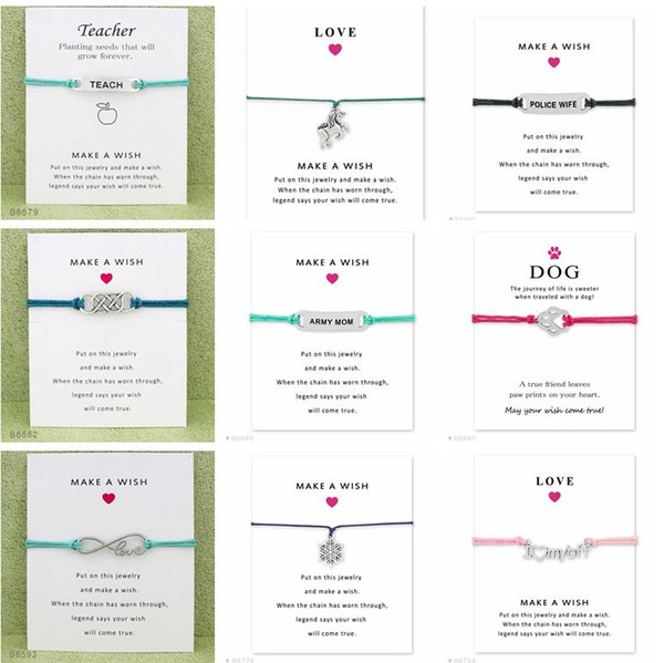 top popular Wish Bracelet With Gift Card Dog Paw Love Unicorn Teacher Charm Bracelets Bangles for Women men Friendship Statement Jewelry Greeting Cards 2019