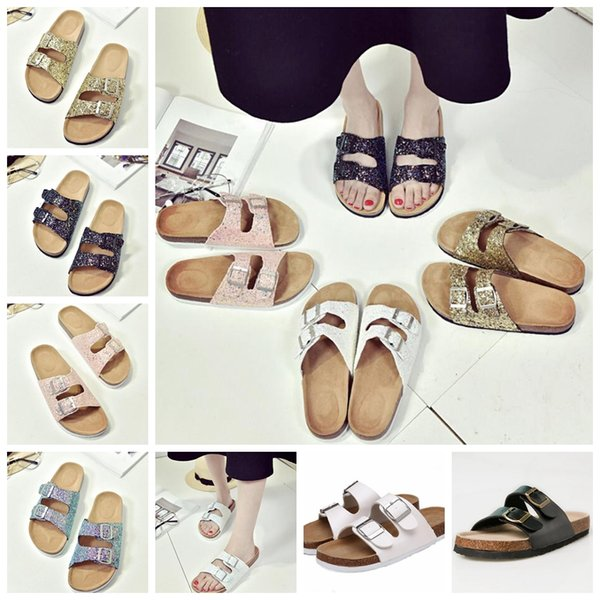 7colors Summer women beach cork Slippers Casual Sandals Sequins Slides Double Buckle Clogs Slip on Flip Flops Flats Shoes GGA606 10pairs