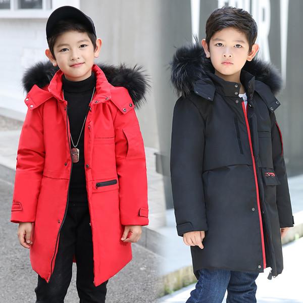 Hiver enfants canard vers le bas vestes / manteaux Parkas fourrure garçon Outerwears chaud fille épaisse Down plume veste -30 degrés 130CM-170CM