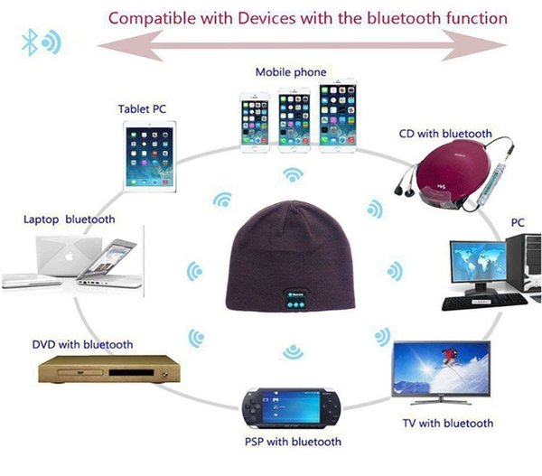 30pcs Bluetooth Music Hat Soft Warm Beanie Cap with Stereo Headphone Headset Speaker Wireless Microphone support for iphone ipad MP3 ipod