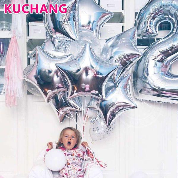 Экологичный 29 шт. / лот 40 дюймов серебряный номер 1 18 дюймов сердце звезда фольги латексные шары Baby Shower девушка ' S 1-й день рождения декор