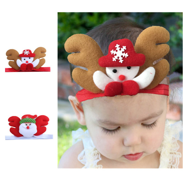Novo! Natal papai noel boneco de neve elástico bebê headband presente dos miúdos dos desenhos animados headwear para festa de natal vestido de decoração de cabelo