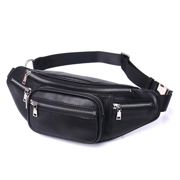 Luxury Design Men PU Leather Waist Bag Female One Shoulder Zipper belt bag drop leg molle pouch small Travelling phonebagP30
