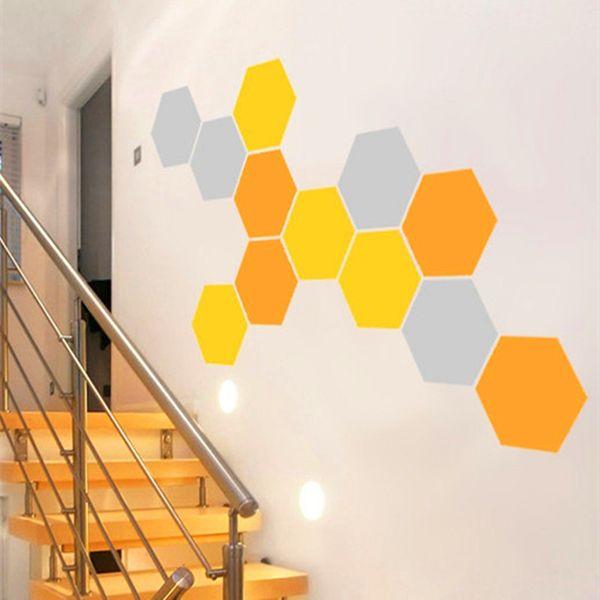 12 Nido de abeja calcomanía de pared Hexágonos geométricos de vinilo pegatinas de pared decoración para el hogar tres combinaciones de colores cada tamaño 24x28 cm D625