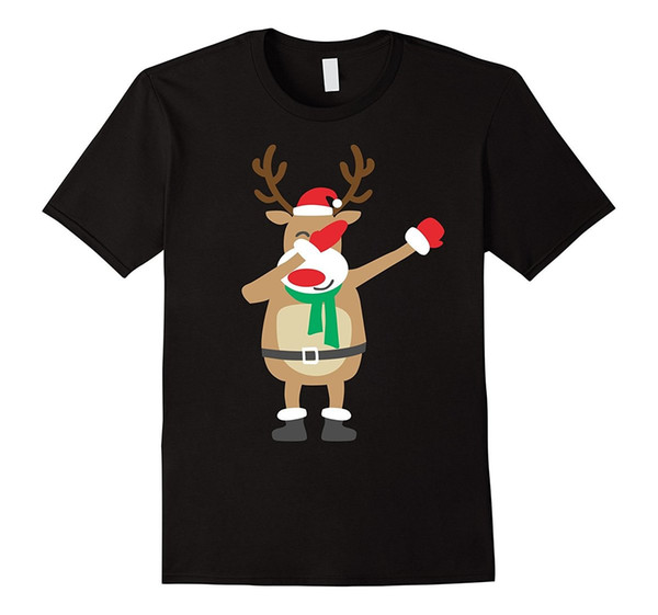 Rudolph The Red-Nosed Reindeer Dabbing T SHirt Printed T Shirts Short Sleeve Hipster Tee Summer Tops Tees T-Shirt Plus Size