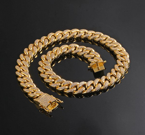 """12mm 7"""" 8"""" 16"""" 18"""" 20"""" 22"""" 24"""" Iced out Bling bling Copper Cuban Chain Hip Hop micro pave Necklace Jewelry for men CN001"""