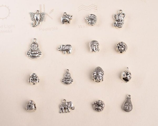 50 PCS/lot Hole Tibetan Silver Loose Beads Metal Europe Pirate Spacer Beads Silver Plated DIY Bracelet Findings- No.z121- Z128