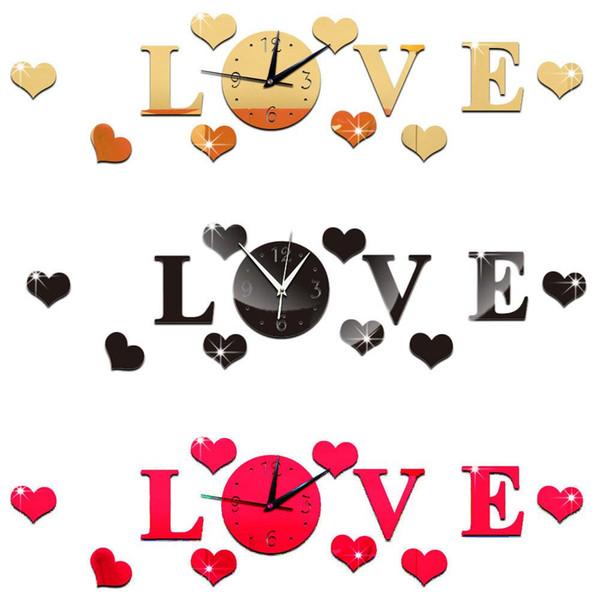 Creative 3D miroir stickers muraux horloge amour décalques décoration de la maison amovible
