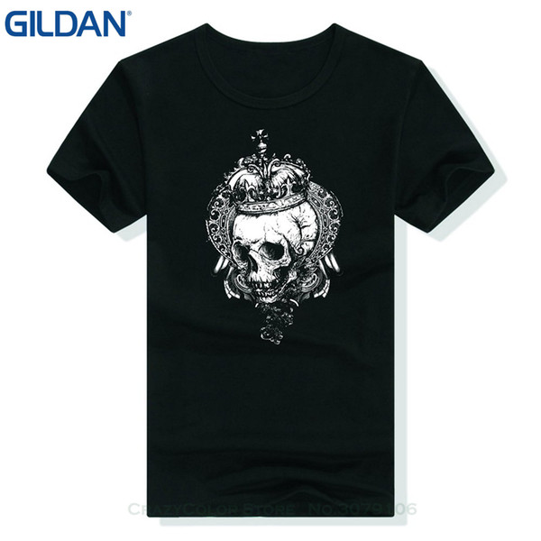 Wholesale discount Breathable Printing Leisurely Loose Tops Cotton Short Sleeve Tees Personalized Custom Printed T shirt Crown Skull