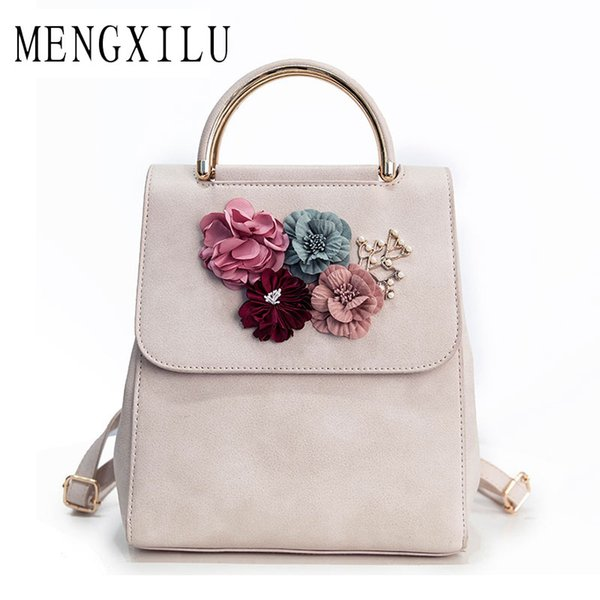 MENGXILU Brand Leather Women Backpack Female Japan and Korean Style Trend Three-dimensional Flower Shoulder Bag Women's Backpack Y18110202
