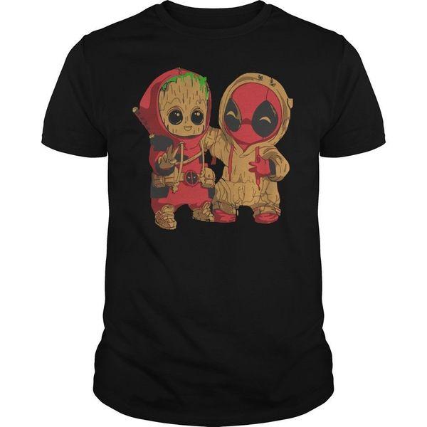 Детские Грут и Дэдпул чиби мужские черные футболки размер S-2XL