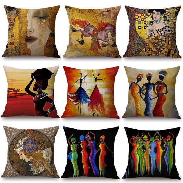 Acheter Afrique Peinture Art Africain Impression Housse De Coussin Exotique  Décoration Style Canapé Coussin Couverture Lin Peinture À L\'huile Chambre  ...