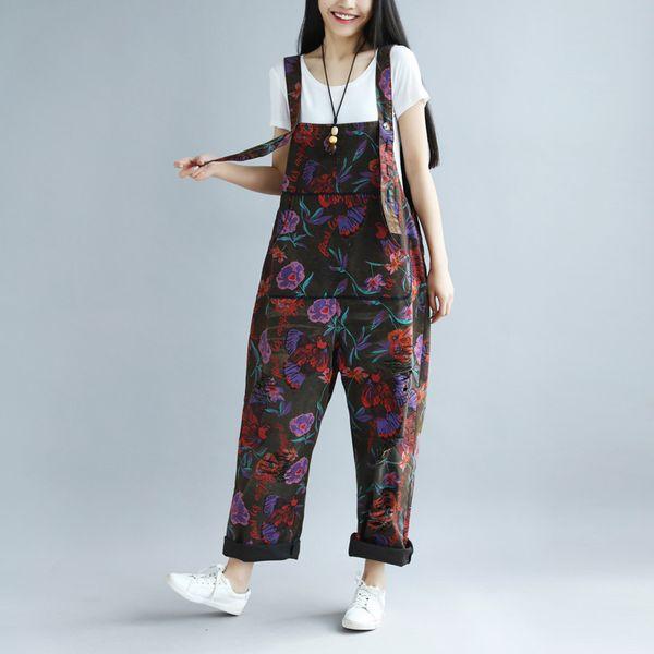 Rompers Womens Jumpsuit 2018 Spring Summer Plus Size Overalls for Women Print Combinaison Femme Loose Bodysuit Korean Fashion