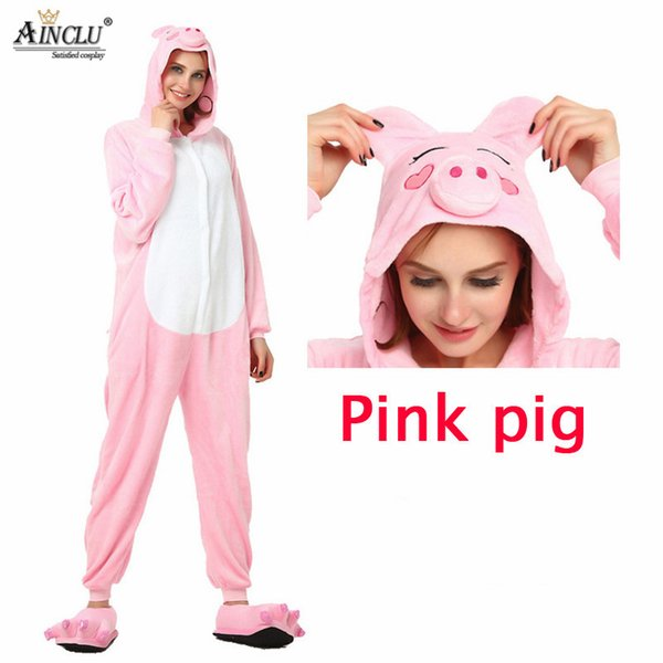 Wholesale Spring and Autumn Pink Pig Pajama Shoes Sets Cartoon Sleepwear For Men Women Pajama Flannel Animal Sweet Cute cosplay