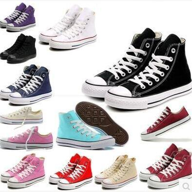 Men Women Casual Shoes Star Flat Canvas Shoes High Low Top Sneakers Big Size High Quality Free Shipping