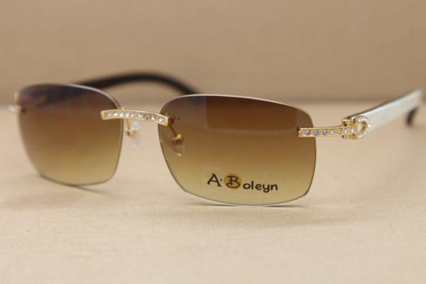Cuerno de búfalo natural genuino caliente Blanco dentro negro Gafas de sol sin marco T8200497 Tamaño grande del marco de cristal de los vidrios: 57-18-140mm