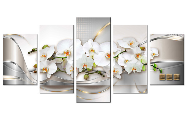 Impressão da lona da orquídea da arte de Amse. Arte da parede que pinta linhas abstratas fundo arte finala da flor branca para a vida home moderna decorativo sem moldura