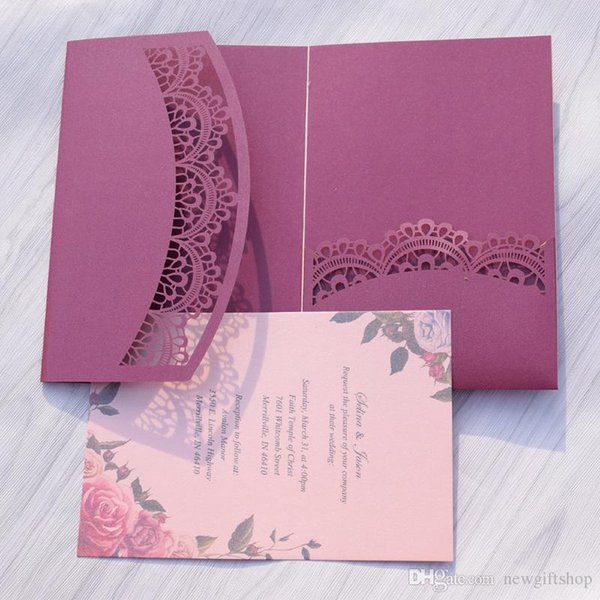 Many customized color Wedding Invitation Cards Luxury Laser Cut Birthday Invitation Blessing Cards 50pc Wedding Supplies