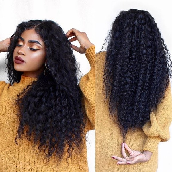 Free shipping new on sale 100% unprocessed virgin remy human hair long natural color afro curly full lace wig for black women
